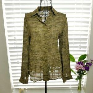 Jones New York Silk Long Sleeve Button Down Blouse